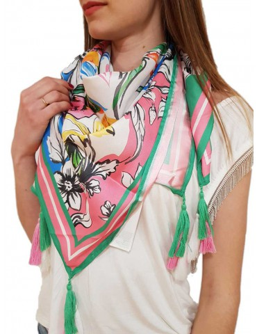 Fracomina multicoloured flower scarf