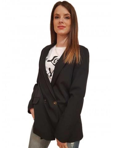 Fracomina long black double-breasted jacket