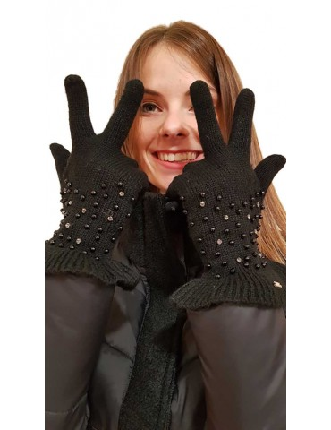 Fracomina gloves with black rhinestones