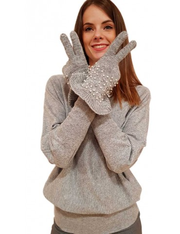 Fracomina grey gloves with applications