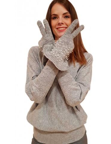 Fracomina guanti grigi con applicazioni