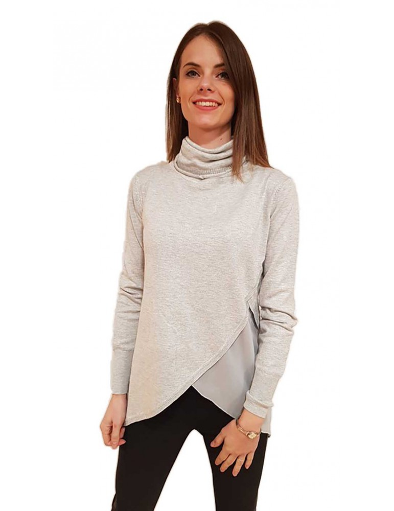 Fracomina maglia grigia collo alto fr18fp8025d71 FRACOMINA MAGLIE DONNA product_reduction_percent