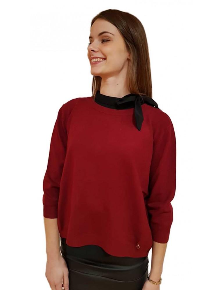 Fracomina maglia twin set bordeaux e nero fr18fp8128845 FRACOMINA MAGLIE DONNA product_reduction_percent