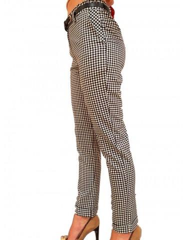 Fracomina pantalone a quadretti bianco e nero
