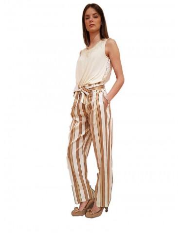 Fracomina pantalone a righe vita alta con cintura crema e beige