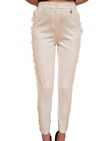 Fracomina pantalone bianco con ruches laterali