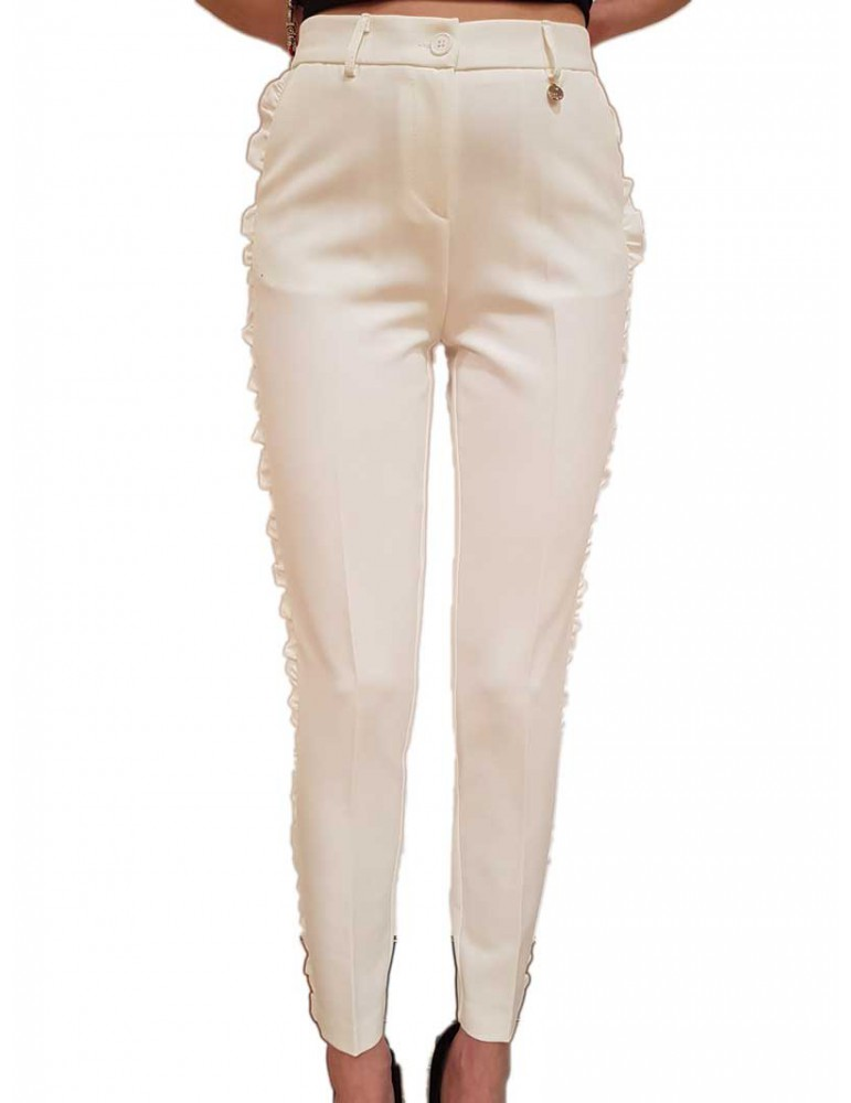 Fracomina pantalone bianco con ruches laterali fr19sp666108 FRACOMINA PANTALONI DONNA product_reduction_percent