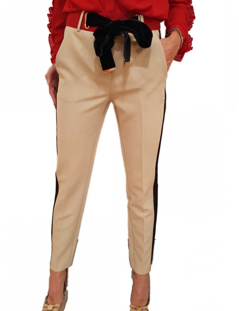 Fracomina pantalone chino beige con banda nera fr18fp658e01 FRACOMINA PANTALONI DONNA product_reduction_percent