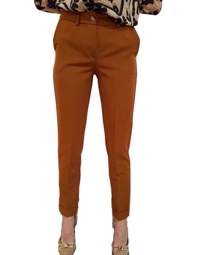 Fracomina pantalone con risvolto marrone fr18fm110315 FRACOMINA PANTALONI DONNA product_reduction_percent