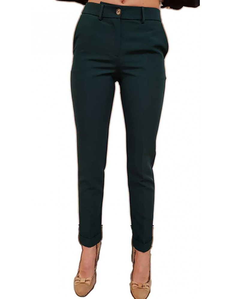 Fracomina pantalone con risvolto verde fr18fm110119 FRACOMINA PANTALONI DONNA product_reduction_percent