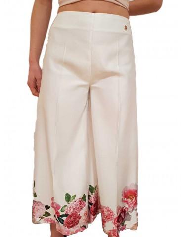 Fracomina pantalone crop bianco con stampa fiori