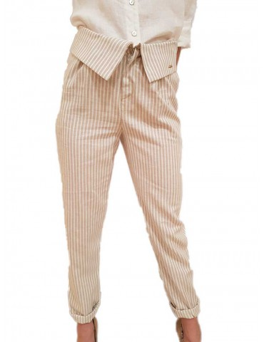 Fracomina beige and cream striped linen trousers