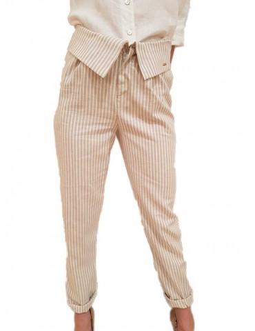 Fracomina pantalone di lino a righe beige e crema