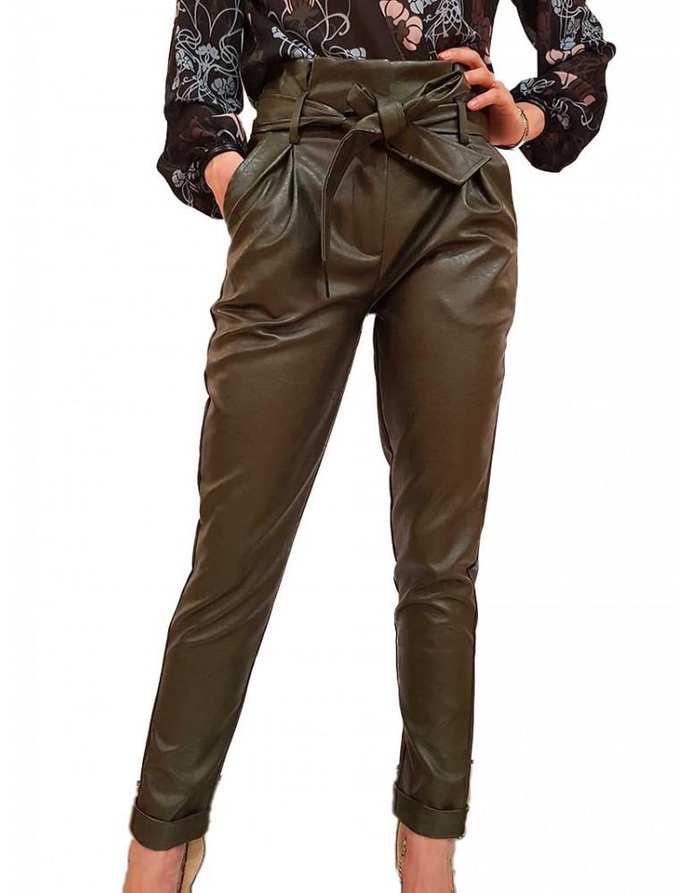 Fracomina pantalone ecopelle verde fr19fp682205 FRACOMINA PANTALONI DONNA product_reduction_percent