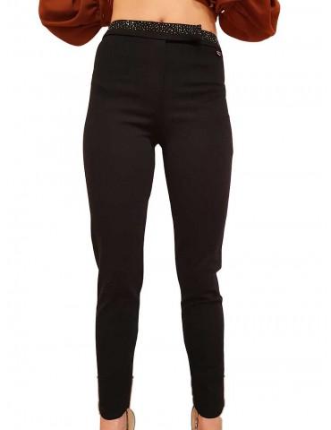 Fracomina pantalone nero cinta strass