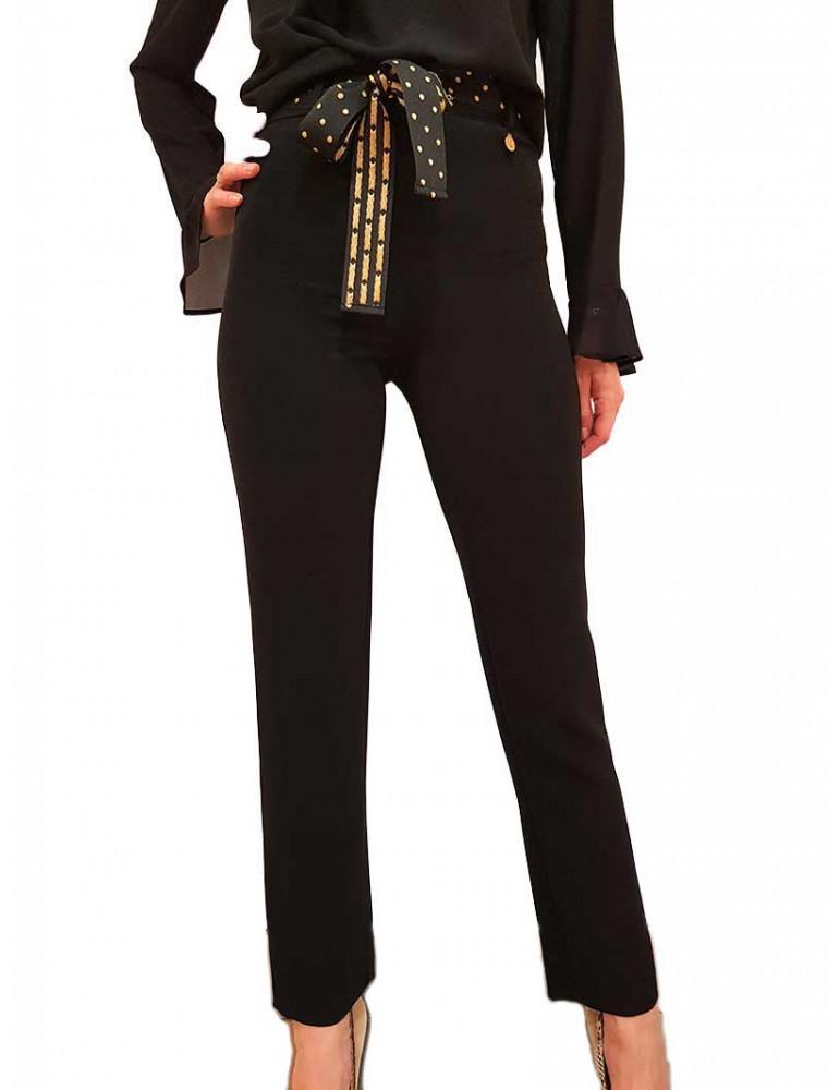 Fracomina pantalone nero cintura pois fr19fp152053 FRACOMINA PANTALONI DONNA product_reduction_percent