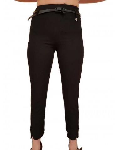 Fracomina pantalone nero vita alta con cintura