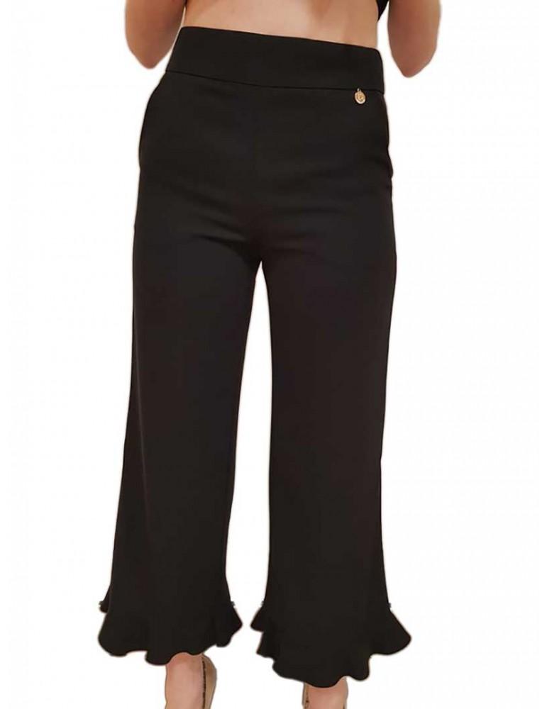 Fracomina pantalone palazzo corto nero fr18sp633053 FRACOMINA PANTALONI DONNA product_reduction_percent