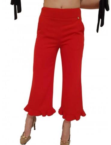 Fracomina pantalone palazzo corto rosso