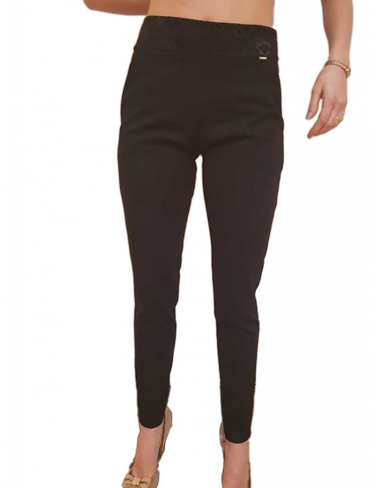 Fracomina pantalone slim chinos nero fr18sp040053 FRACOMINA PANTALONI DONNA product_reduction_percent