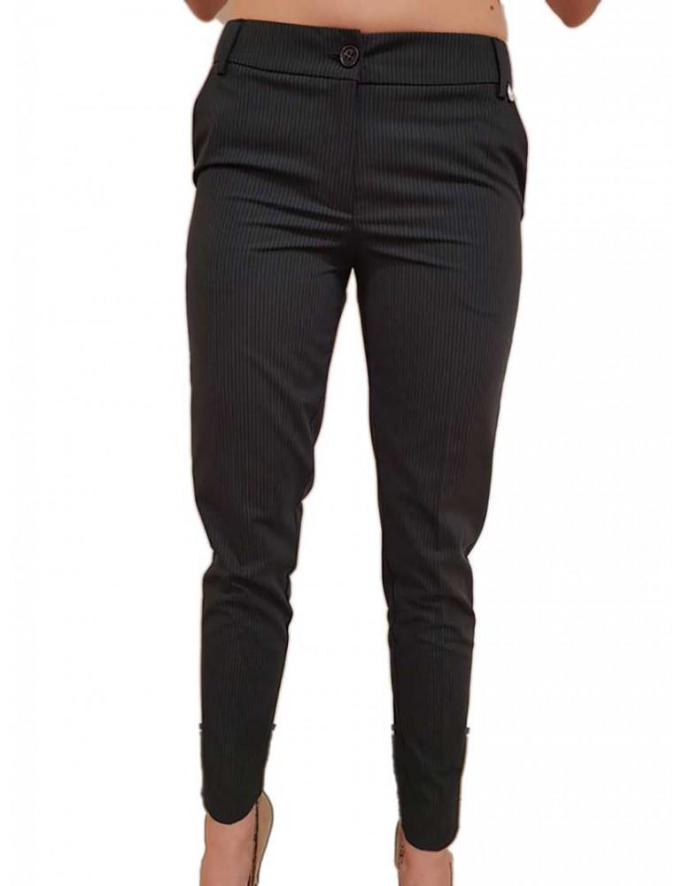 Fracomina pantalone slim gessato blu fr18sp637192 FRACOMINA PANTALONI DONNA product_reduction_percent