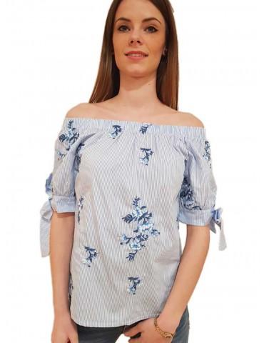 Fracomina schiffer blouse cream light blu
