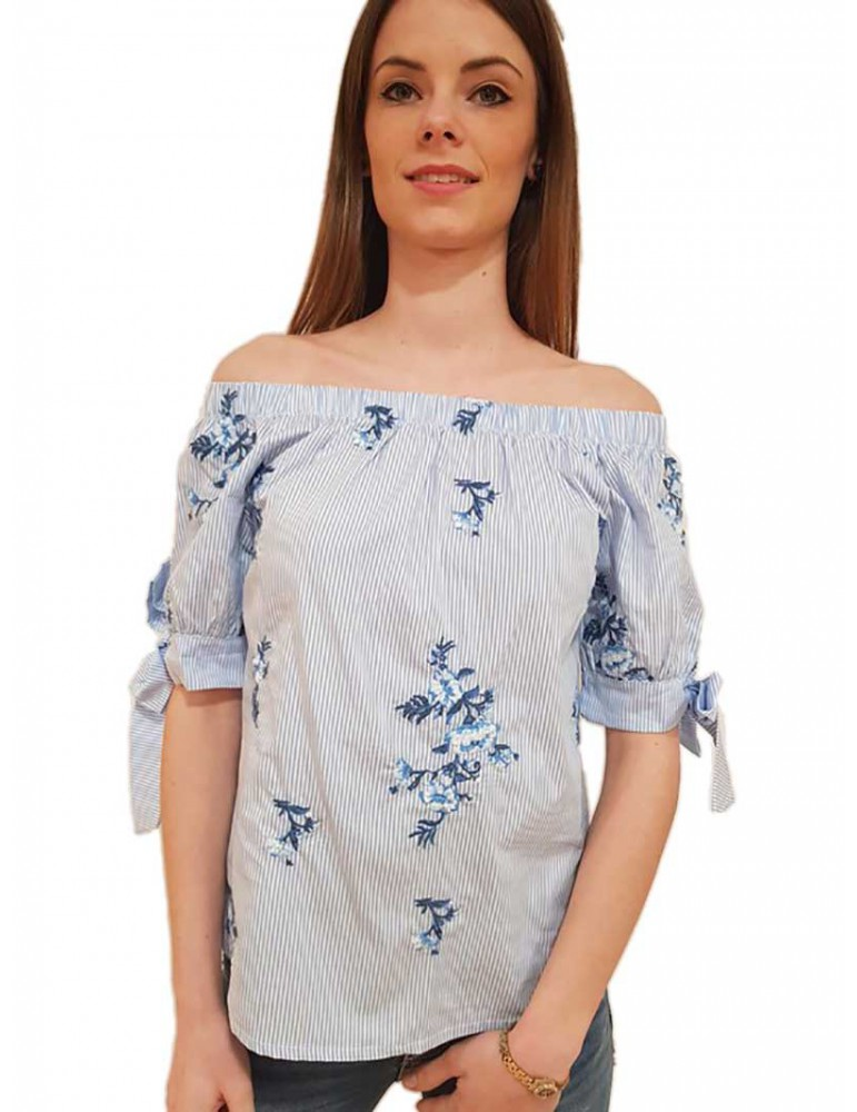 Fracomina schiffer blouse cream light blu fr18sp544c99 FRACOMINA CAMICIE DONNA product_reduction_percent