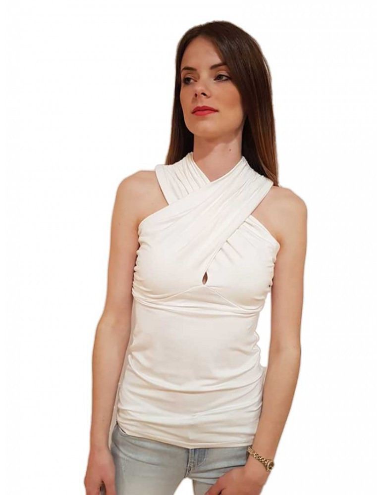 Fracomina top bianco incrocio fr18sp045108 FRACOMINA T SHIRT DONNA product_reduction_percent