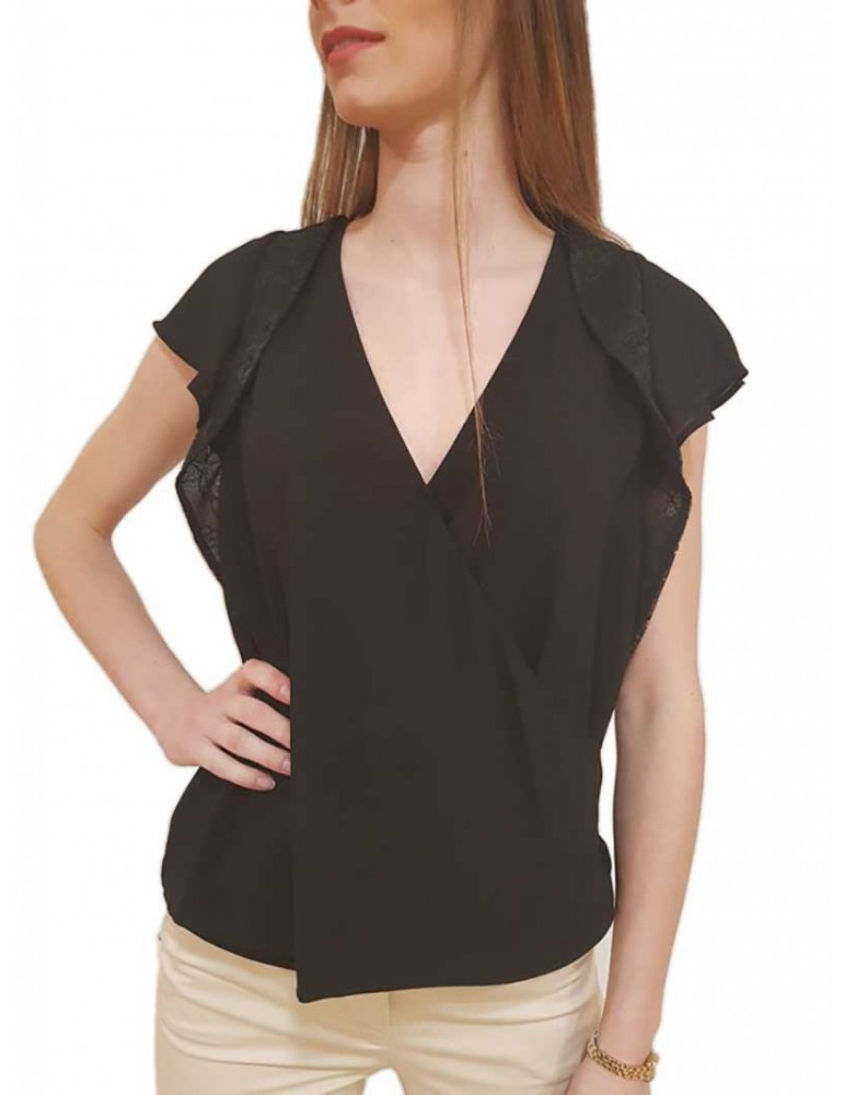 Fracomina top nero fr18sp061053 FRACOMINA T SHIRT DONNA product_reduction_percent