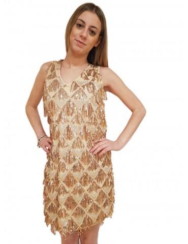 Fracomina vestito con paillettes cipria