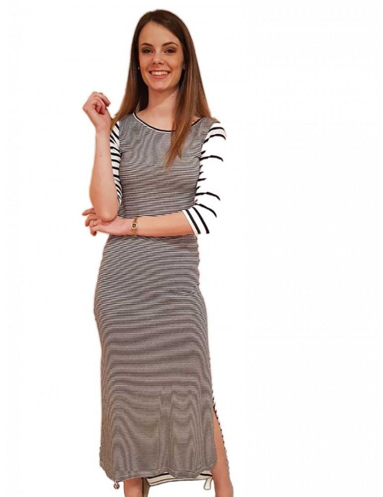 Fracomina vestito lungo a righe crema e blu fr18sp370730 FRACOMINA ABITI DONNA product_reduction_percent
