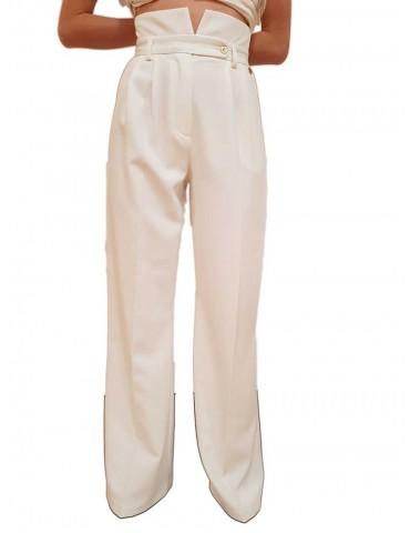 Pantalone a palazzo bianco Fracomina