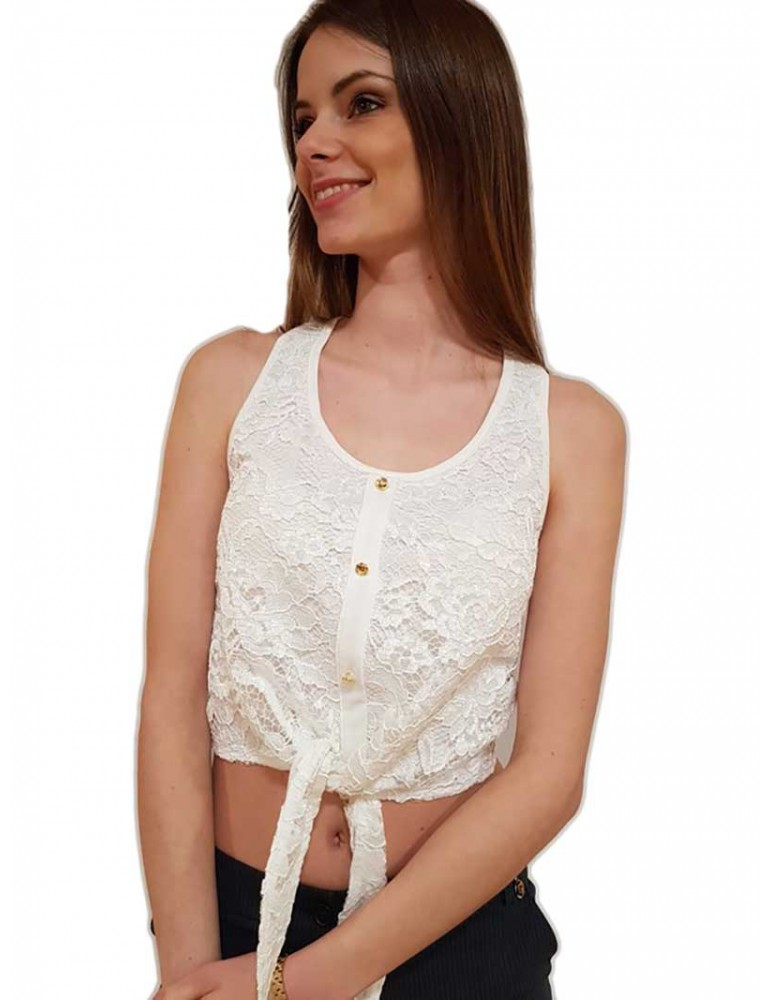 Top crop pizzo Fracomina bianco fr18sm024108 FRACOMINA T SHIRT DONNA product_reduction_percent