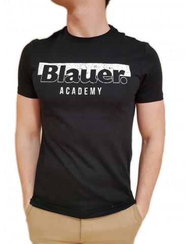 Blauer maglietta nera con logo Academy