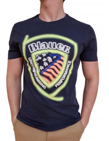Blauer t shirt uomo blu stampa fluo