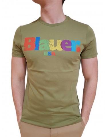 Blauer t shirt uomo verde militare stampa multicolor