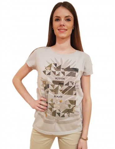 Blauer t shirt donna grigia stampa geometrica