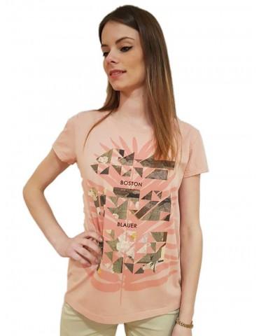 Blauer t shirt donna rosa stampa geometrica