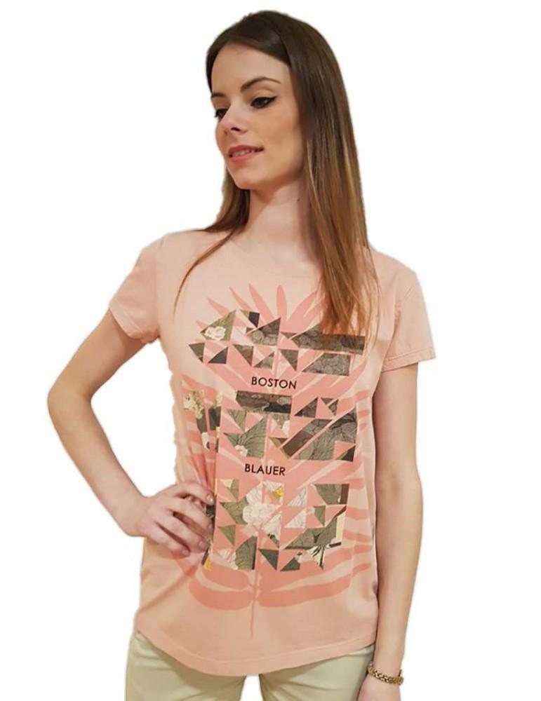 Blauer t shirt donna rosa stampa geometrica 18sbldh02232004595508 BLAUER USA T SHIRT DONNA product_reduction_percent