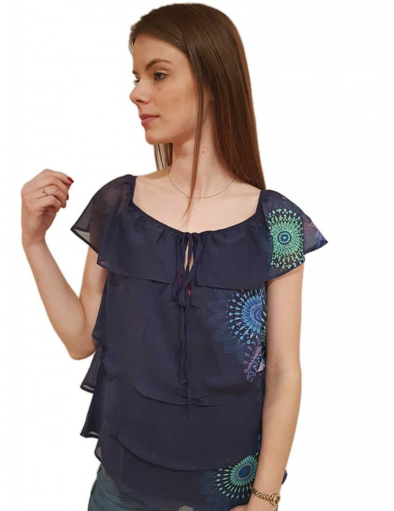 Desigual blusa blu Clarie 19swbw835001 DESIGUAL CAMICIE DONNA product_reduction_percent