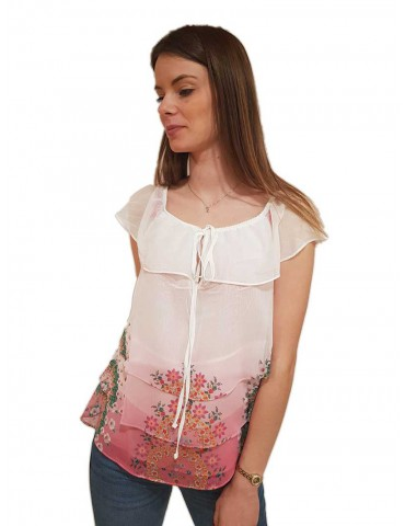 Desigual blusa rosa Alyssa con balze