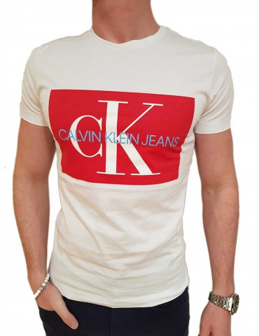 Calvin Klein t shirt bianca con logo rosso