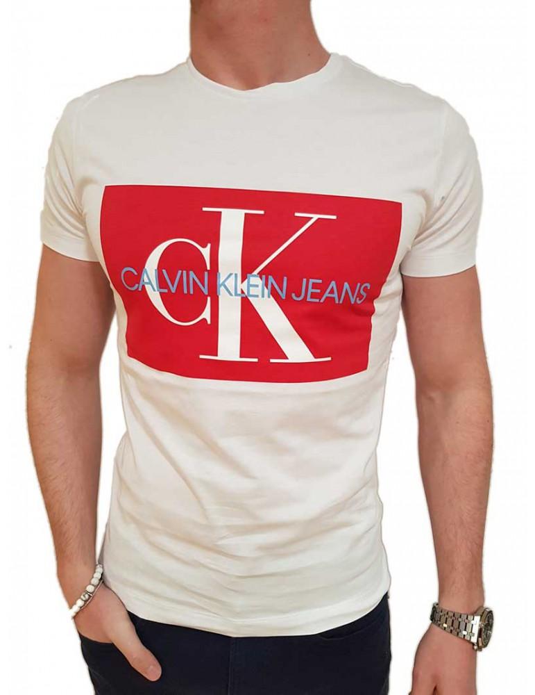 Calvin Klein t shirt bianca con logo rosso j30j307843904 CALVIN KLEIN JEANS T SHIRT UOMO product_reduction_percent