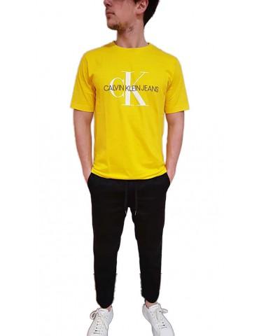 Calvin Klein t shirt gialla con logo a rilievo monogram embro