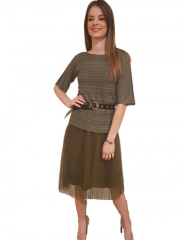 Fracomina long military green Yokole dress