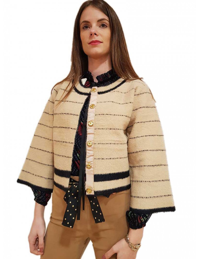 Fracomina cardigan corto a righe beige e nero fr19fp8036388 FRACOMINA MAGLIE DONNA product_reduction_percent