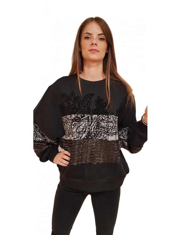 Desigual felpa donna nera Olivia 18wwsk302000 DESIGUAL FELPE DONNA product_reduction_percent