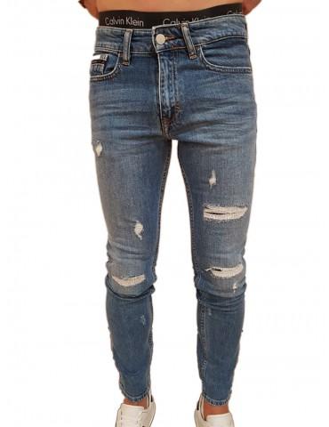 Jeans uomo skinny Calvin Klein blu Manchester