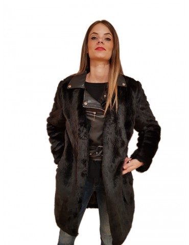 Gaudi cappotto nero finta pelliccia