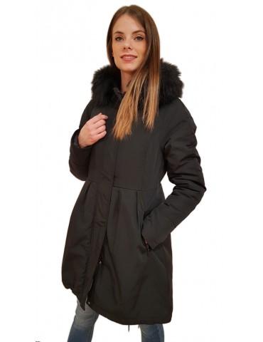 Gaudi parka donna nero con cappuccio